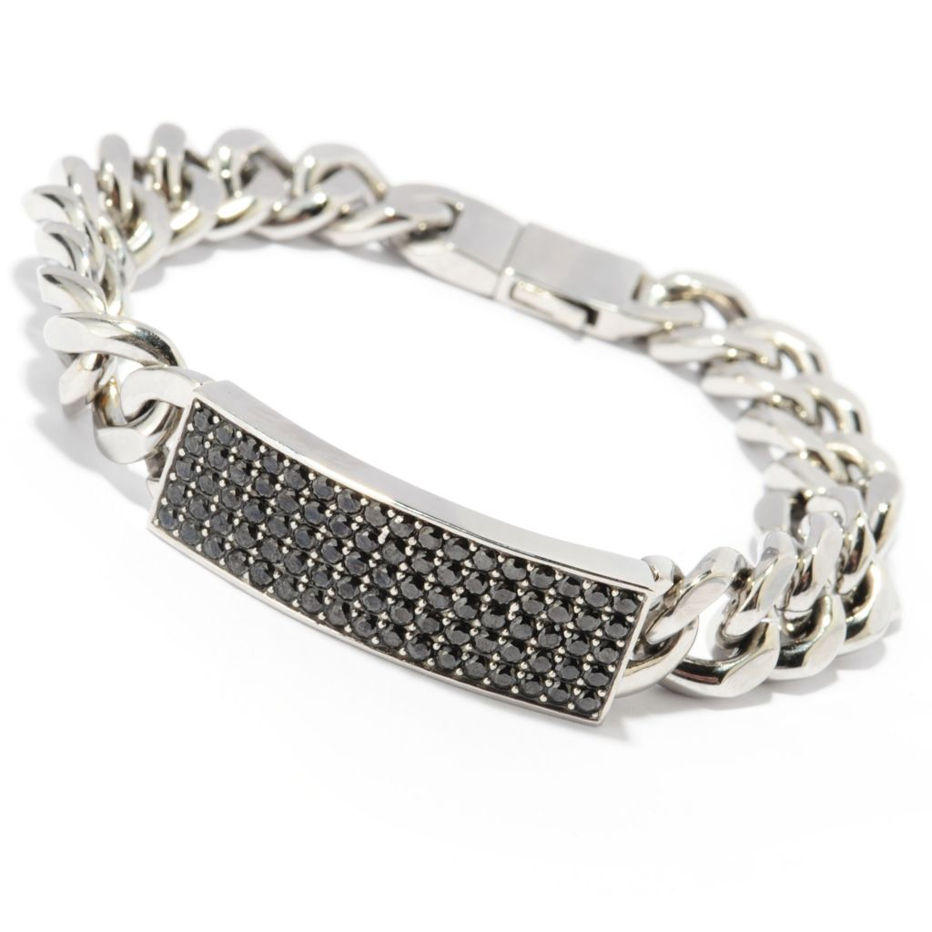 "137-048 - TYCOON Men's Stainless Steel 8.25"" 2.55 DEW Black Simulated Diamond Bracelet"