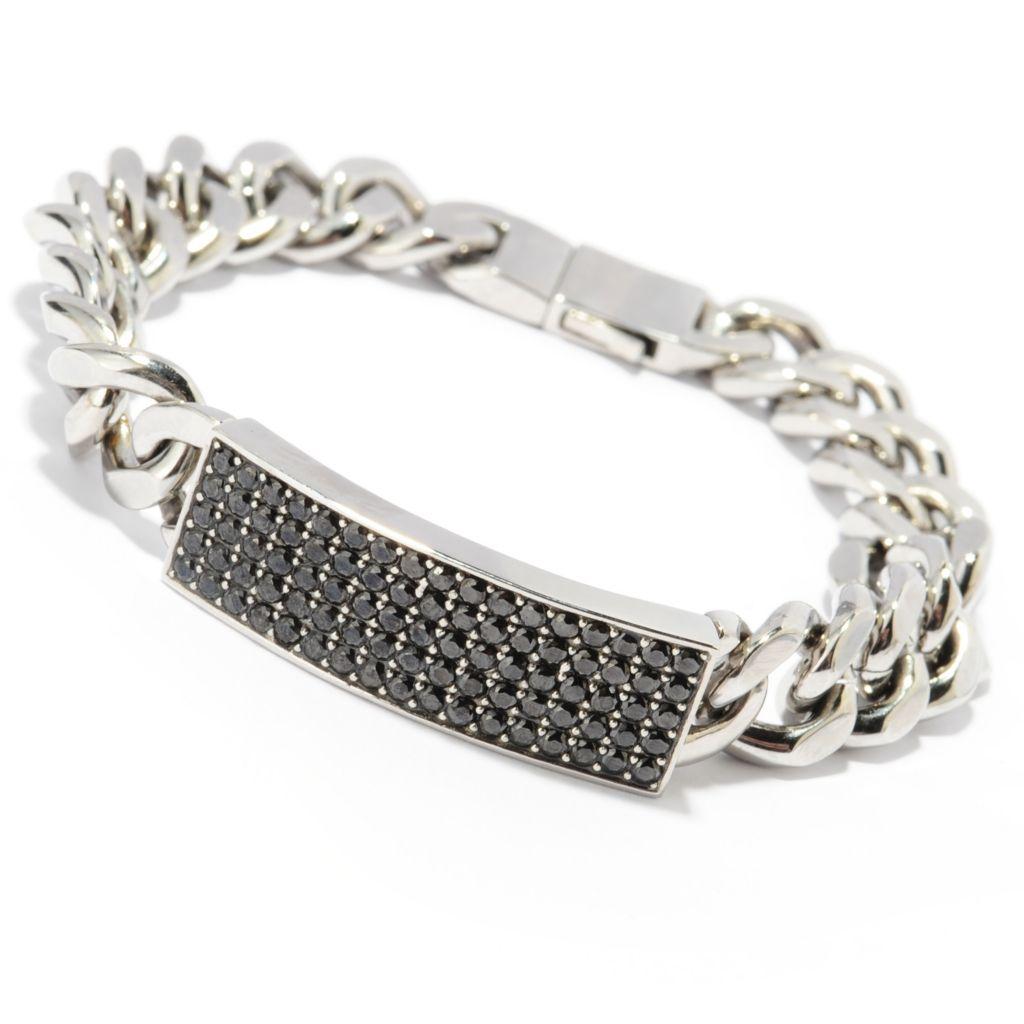 "137-048 - TYCOON Men's Stainless Steel 8.25"" 2.55 DEW Black Simulated Diamond Bracelet"