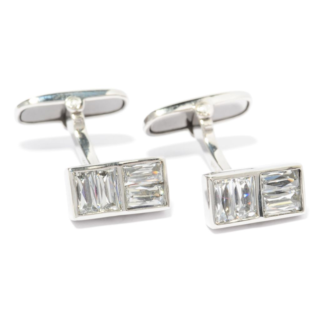 137-049 - TYCOON Men's Stainless Steel 1.44 DEW TYCOON CUT Simulated Diamond Cufflinks