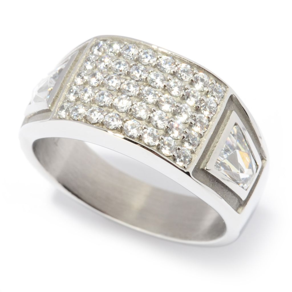 137-053 - TYCOON Men's Stainless Steel 1.84 DEW TYCOON CUT Simulated Diamond Ring