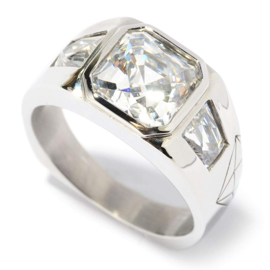 137-054 - TYCOON Men's Stainless Steel 5.22 DEW TYCOON CUT Simulated Diamond Ring