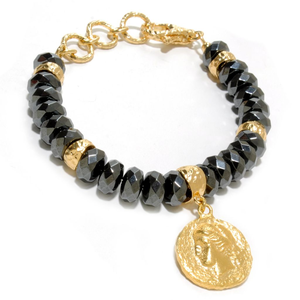 "137-057 - Toscana Italiana 18K Gold Embraced™ 7.5"" Hematite Bead Hammered Bracelet w/ Coin Drop Charm"
