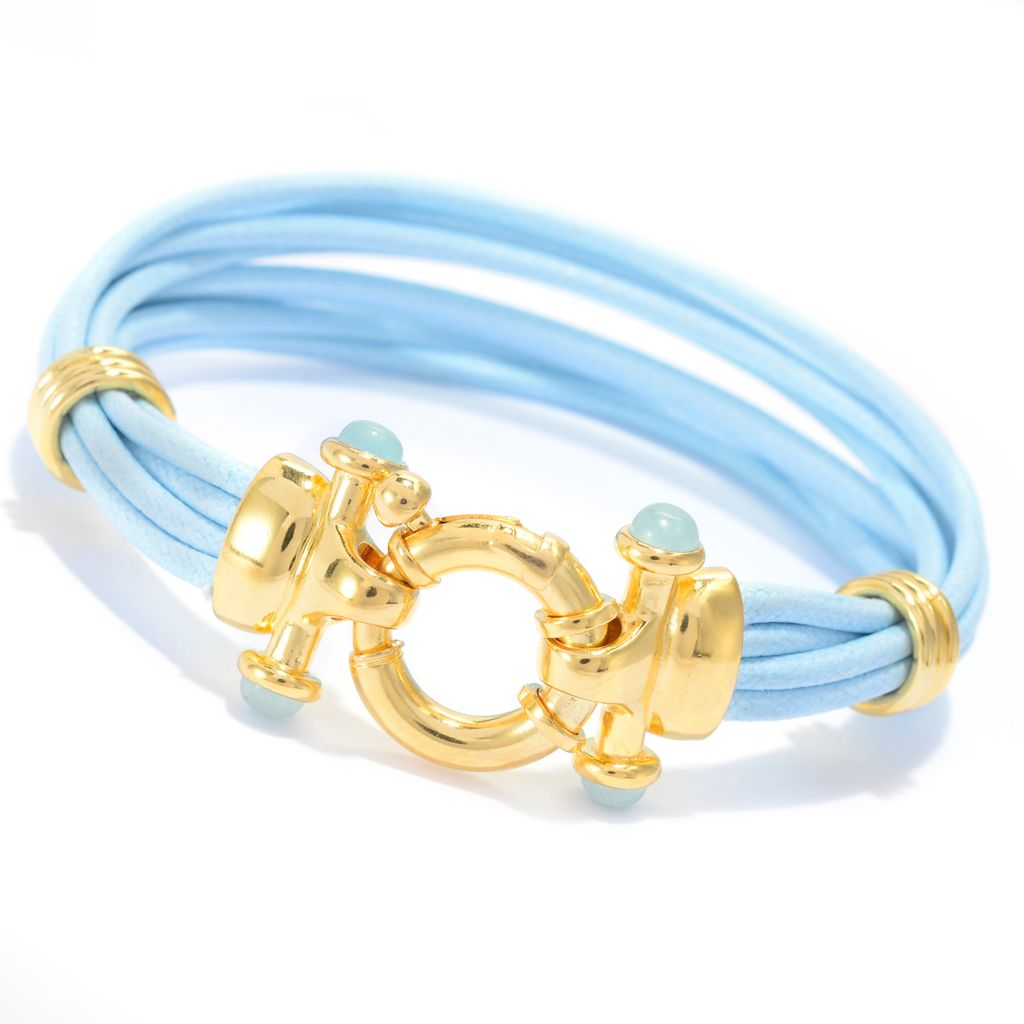 "137-061 - Portofino 18K Gold Embraced™ Multi Cord & Gem ""Clasp with a Catch"" Bracelet"