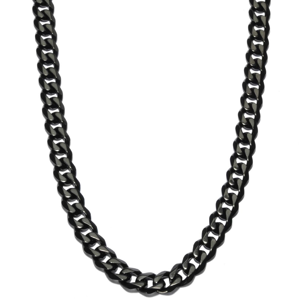 "137-062 - Steeltime Men's Black Stainless Steel 24"" Curb Link Necklace"