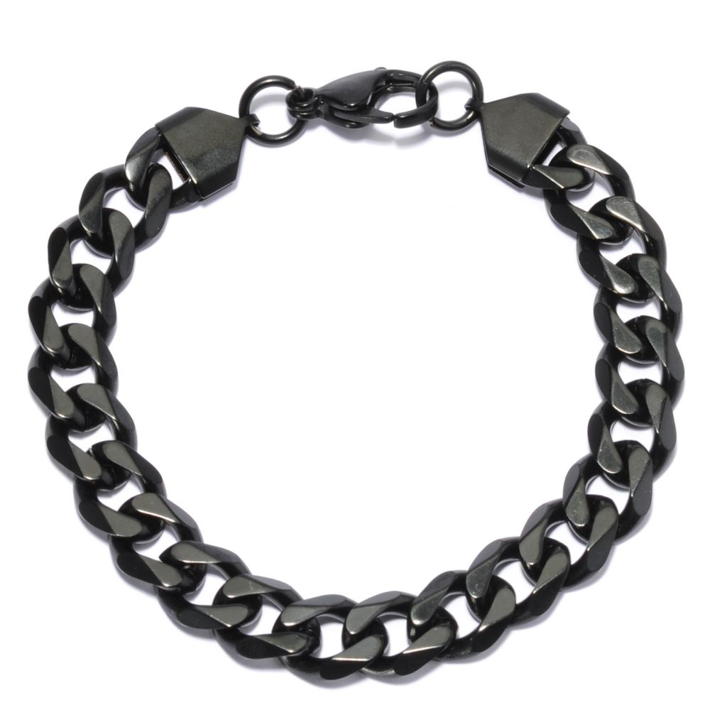 137-063 - Steeltime Men's Black Stainless Steel Curb Link Chain Bracelet