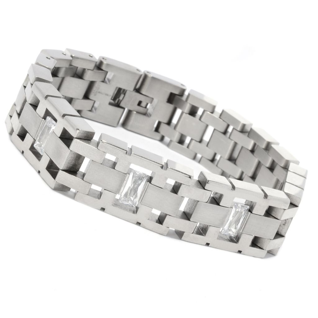 137-065 - Steeltime Men's Stainless Steel Simulated Diamond Rectangular Link Bracelet