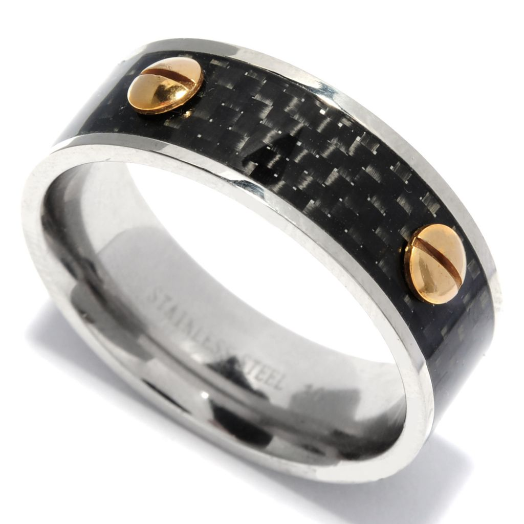 137-067 - Steeltime Men's Two-tone Stainless Steel & Carbon Fiber Inlay Band Ring