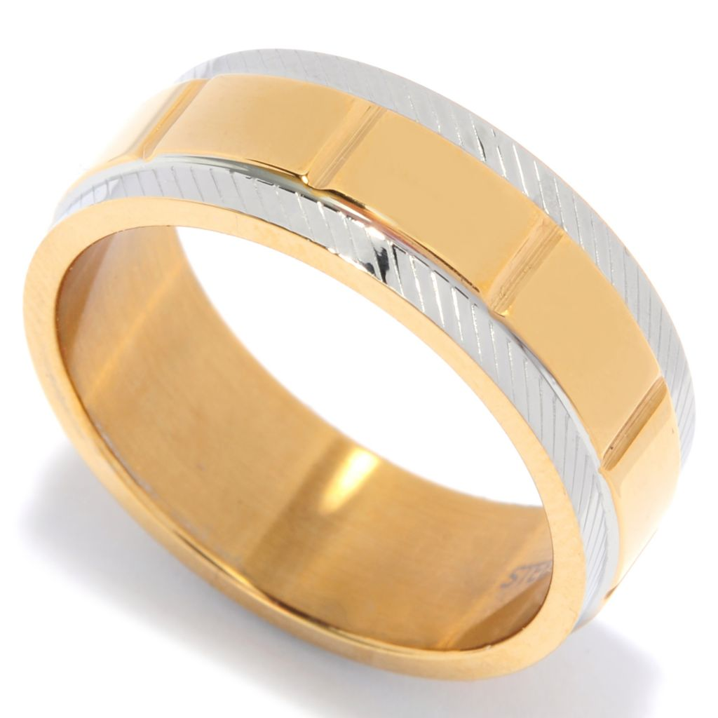 137-068 - Steeltime Men's Two-tone Stainless Steel Textured Band Ring
