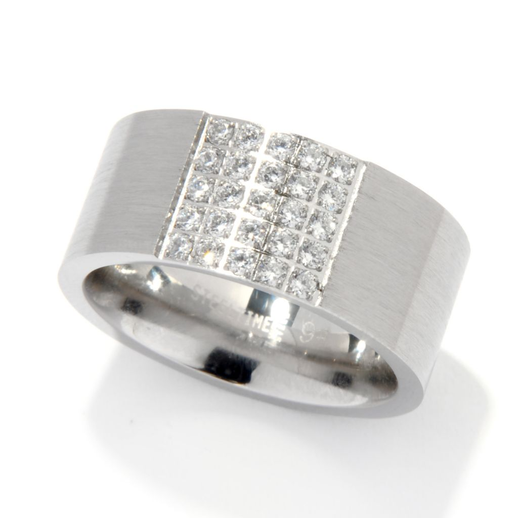 137-069 - Steeltime Men's Stainless Steel Simulated Diamond Satin Finished Band Ring