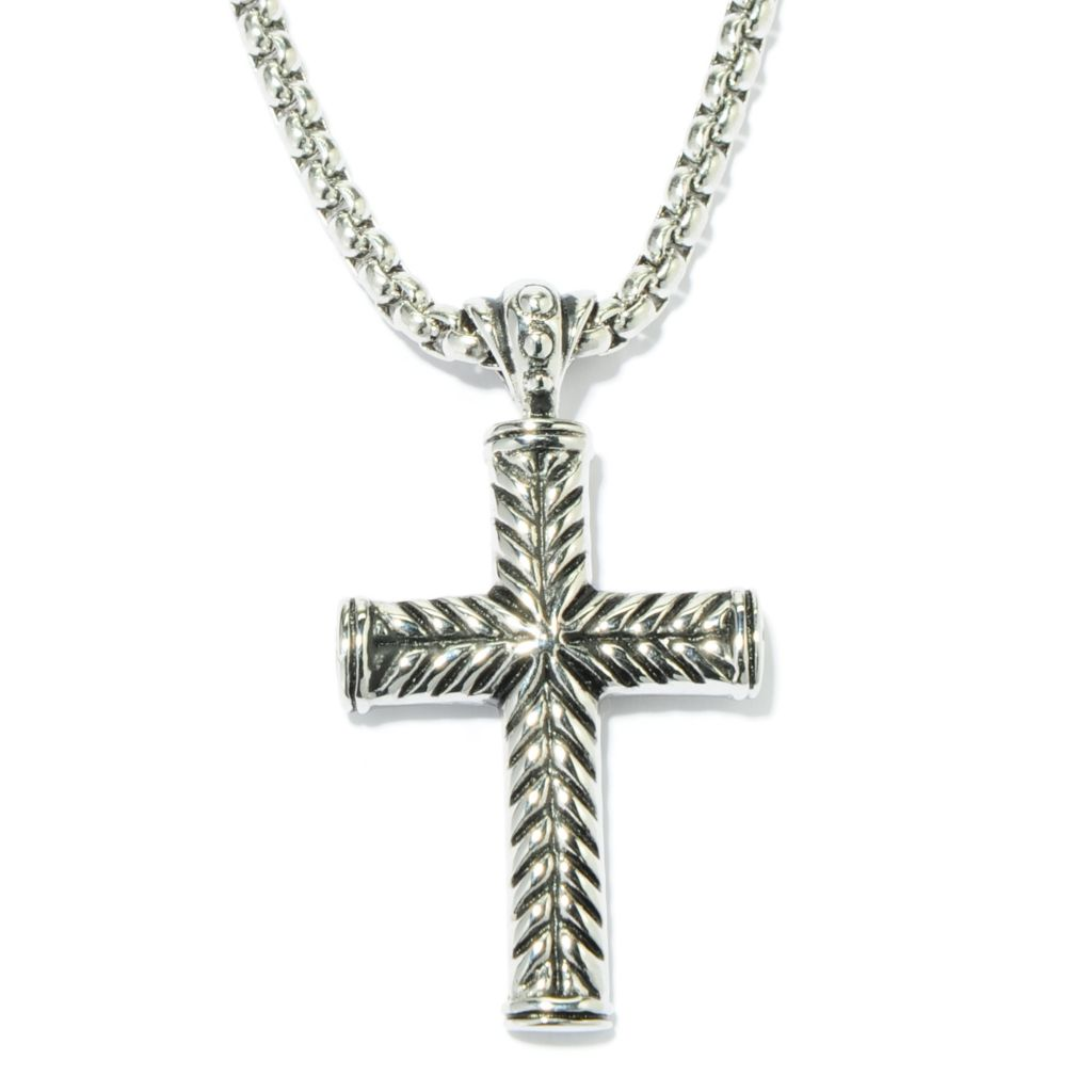 "137-070 - Steeltime Men's Stainless Steel Cross Pendant w/ 24"" Chain"