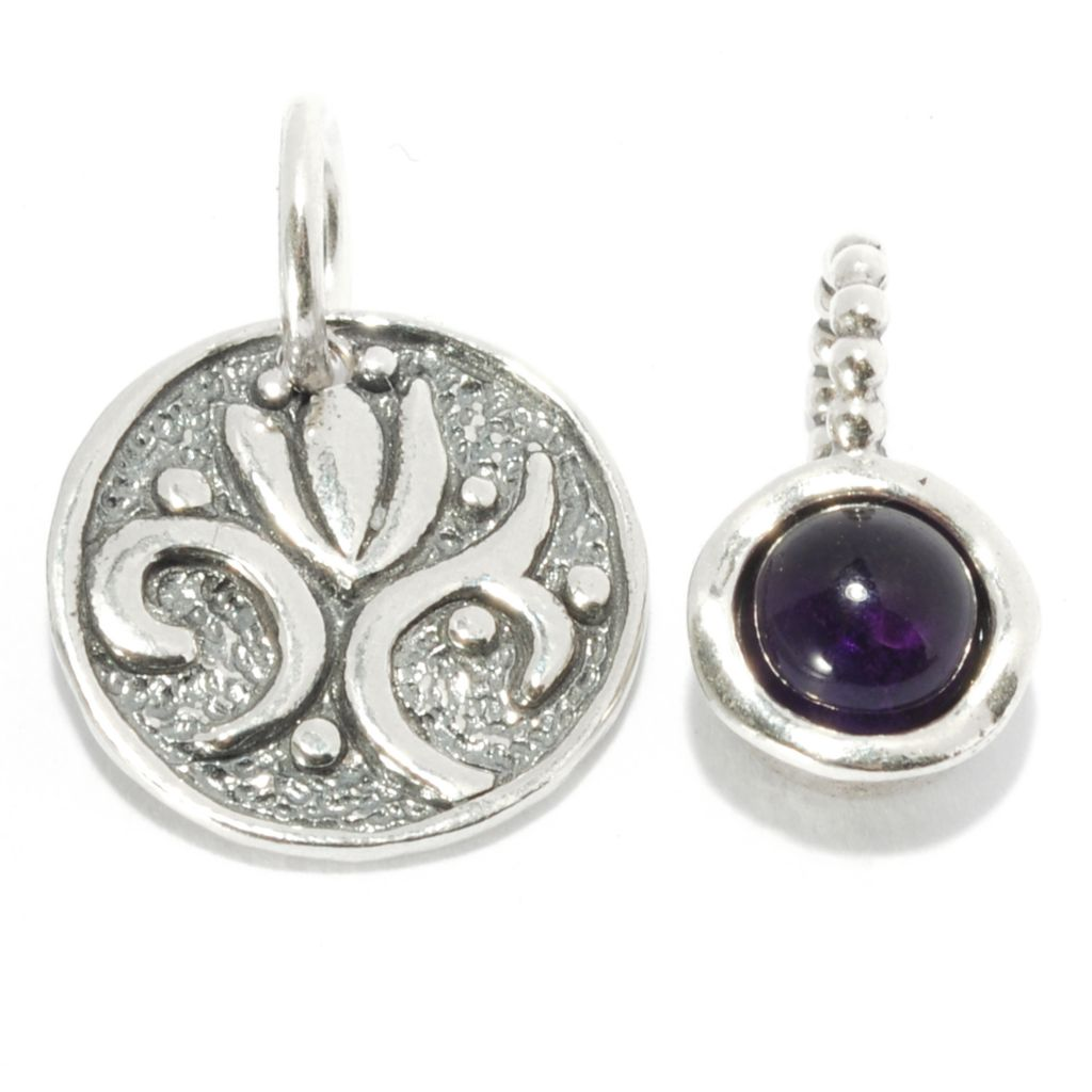 137-071 - Passage to Israel Set of Two Sterling Silver 1.03ctw Amethyst & Flower Charms