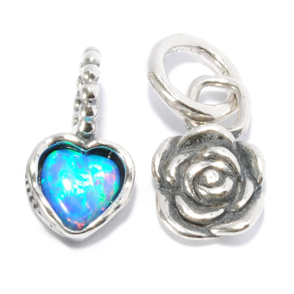 137-072 - Passage to Israel Set of Two Sterling Silver 6mm Simulated Opal & Rose Charms