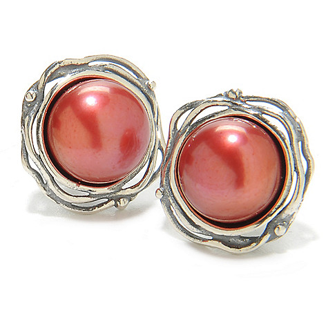 137-073 - Passage to Israel Sterling Silver 10mm Freshwater Cultured Pearl Stud Earrings