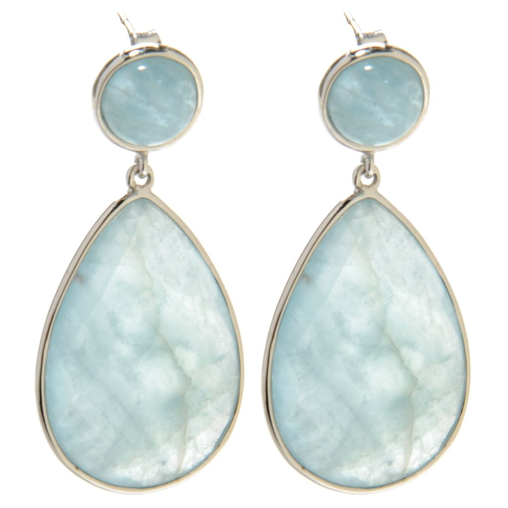 "137-077 - Gem Treasures Sterling Silver 1.5"" 25 x 18mm Aquamarine Teardrop Earrings"