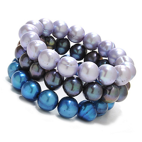 137-078 - Gem Treasures® Set of Three 6'' 11-12mm Cultured Freshwater Pearl Stretch Bracelets