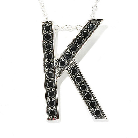 137-079 - Gem Treasures Sterling Silver Black Spinel Initial Pendant w/ 18'' Chain