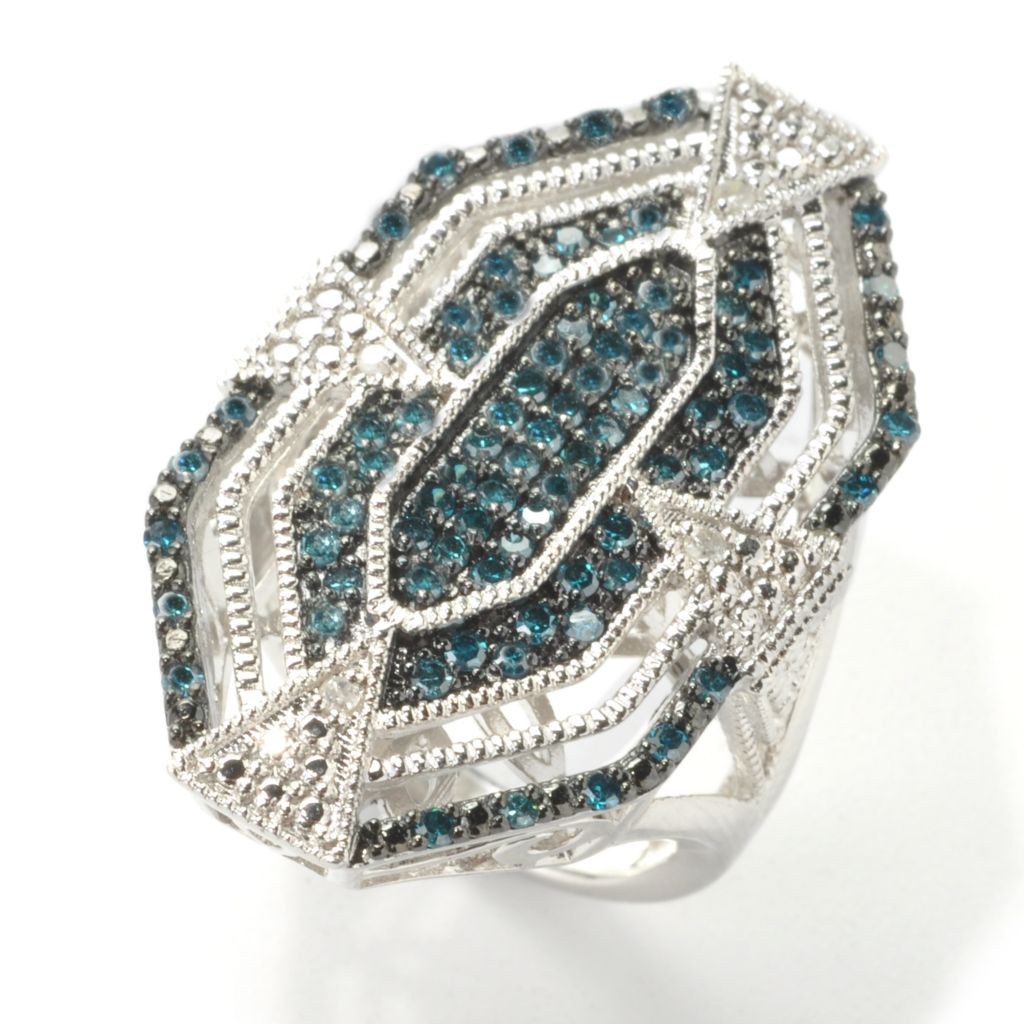 "137-082 - Diamond Treasures Sterling Silver 1.00ctw Diamond Art Deco-Style ""New Hope"" Ring"