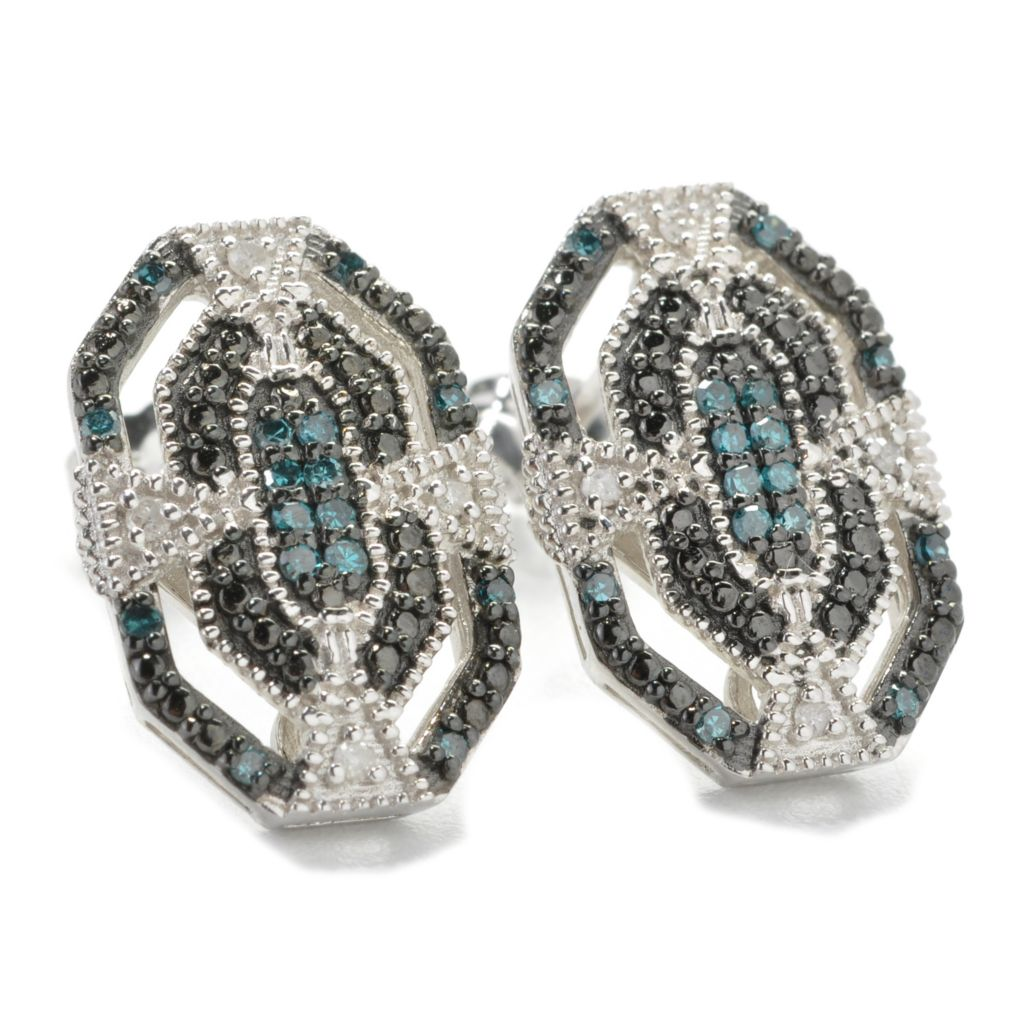 137-083 - Diamond Treasures Sterling Silver 0.20ctw Diamond Art Deco-Style Earrings