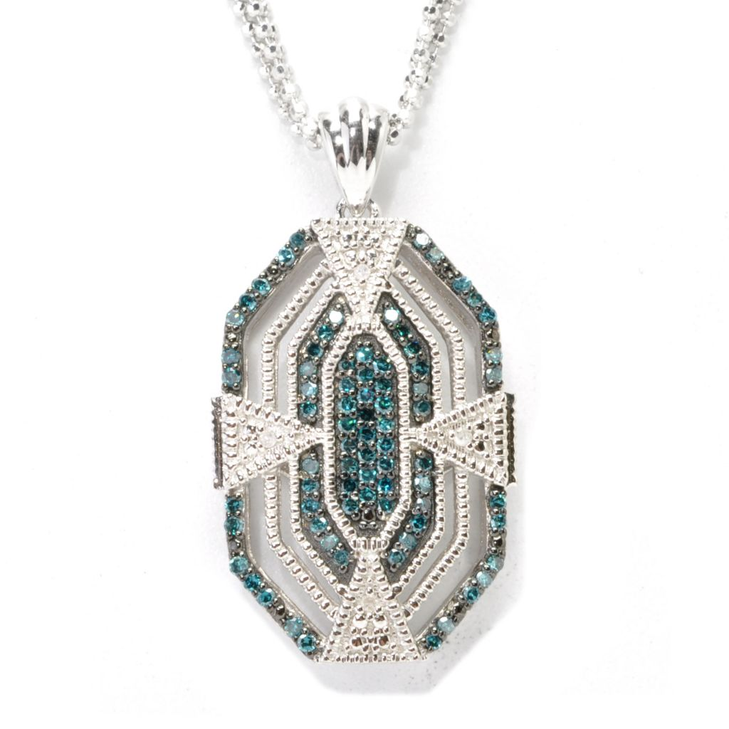 "137-084 - Diamond Treasures Sterling Silver 0.40ctw Diamond Art Deco-Style Pendant w/ 18"" Chain"
