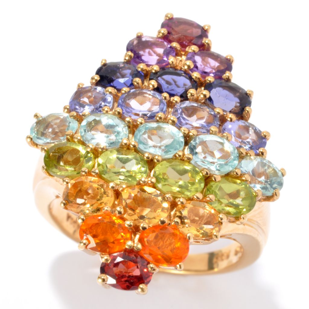 137-090 - NYC II 3.65ctw Multi Gemstone Exotic Rainbow Diamond Shaped Ring