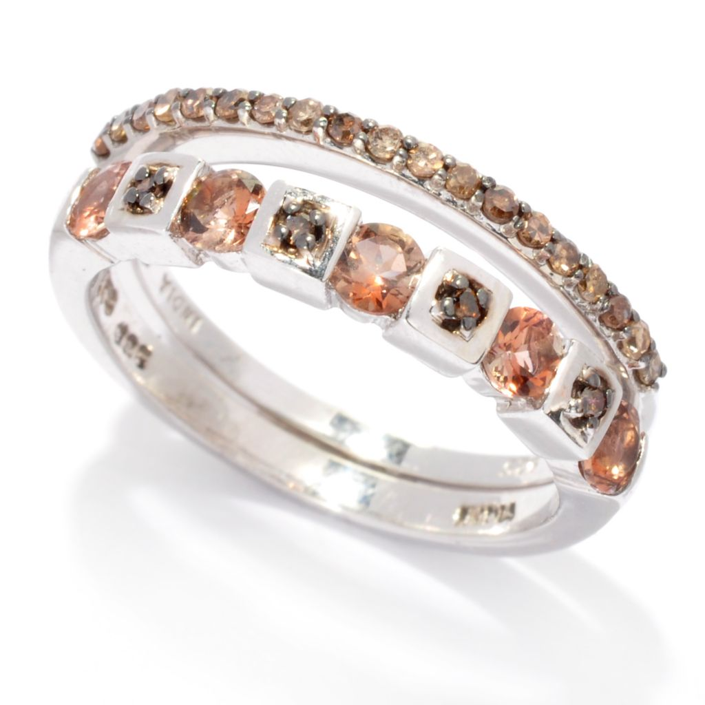 137-092 - NYC II Set of Two Exotic Gem & Fancy Color Diamond Stack Band Rings