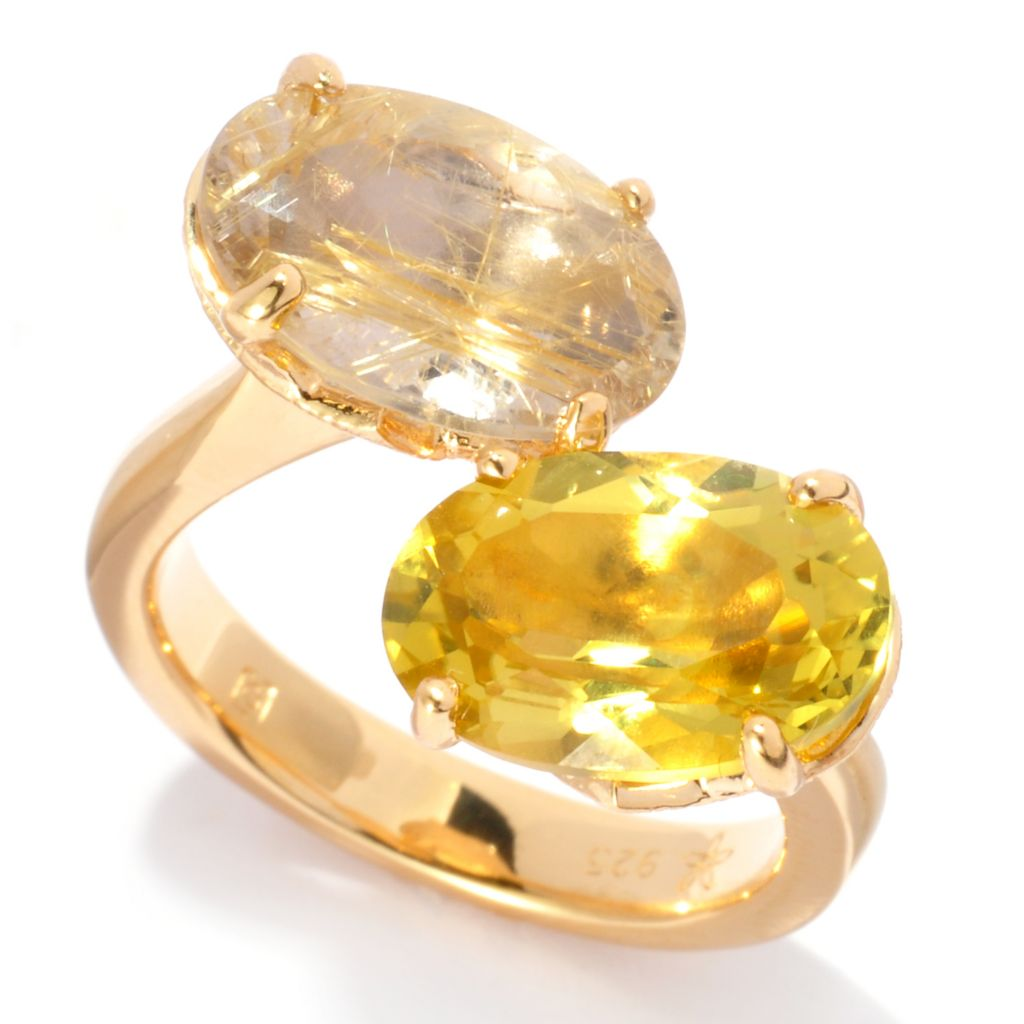 137-101 - Michelle Albala 5.00ctw Golden Rutilated Quartz & Ouro Verde Tilted Bypass Ring