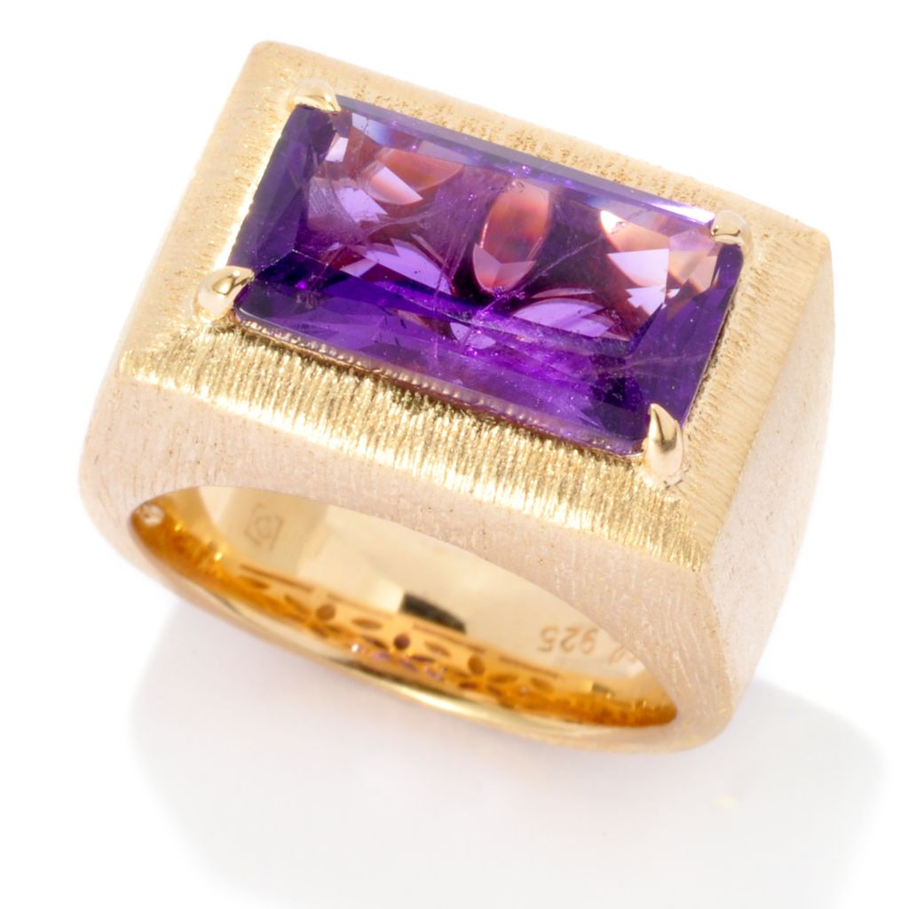 137-104 - Michelle Albala 3.74ctw African Amethyst Brushed Wide Band Ring