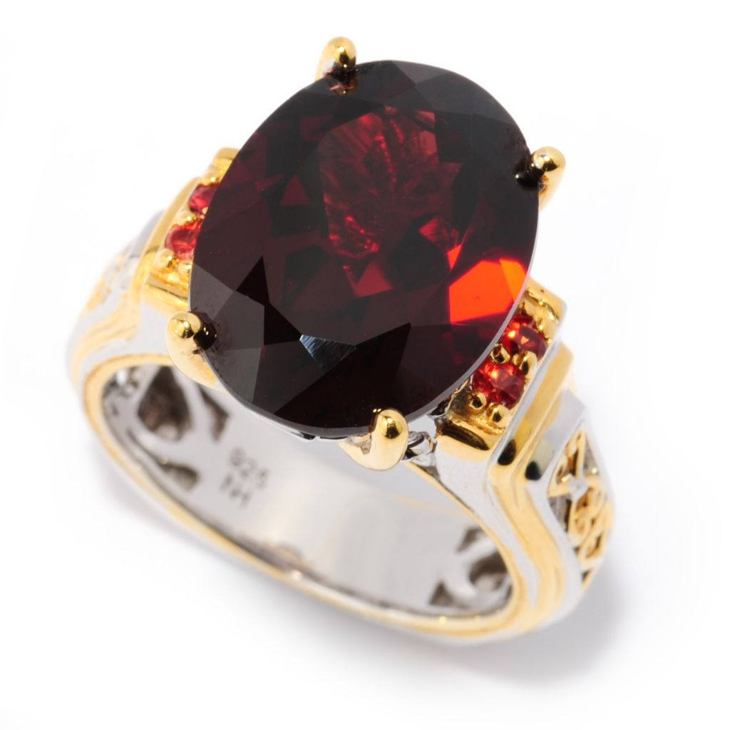 137-118 - Gems en Vogue 11.20ctw Almandine Mozambique Garnet & Orange Sapphire Ring