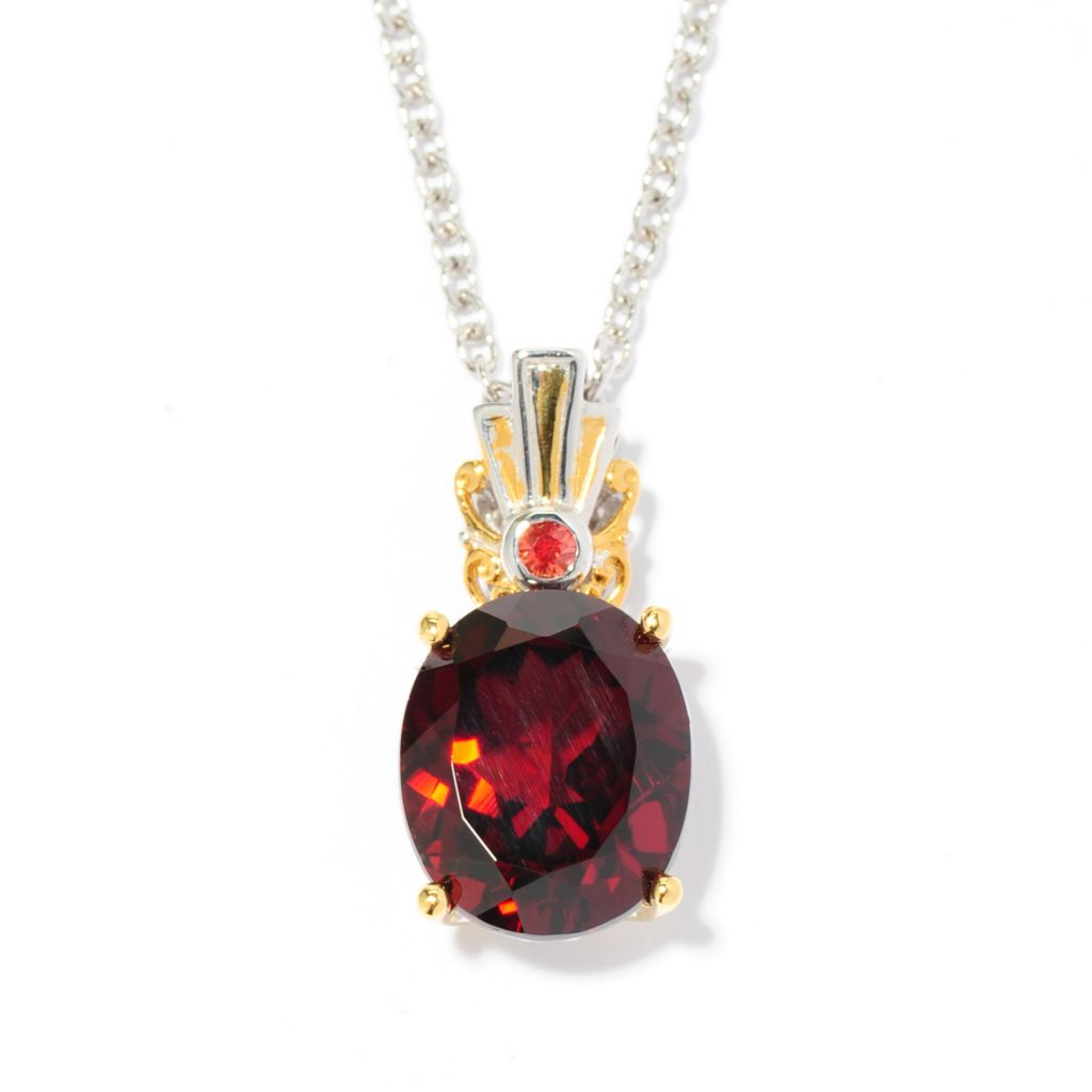 137-119 - Gems en Vogue 5.53ctw Mozambique Garnet & Orange Sapphire Pendant w/ Chain