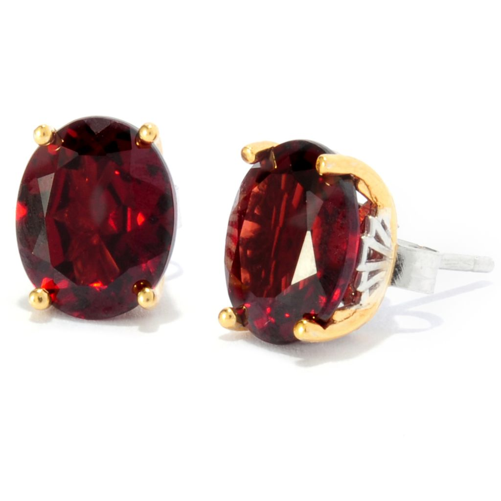 137-120 - Gems en Vogue II 6.70ctw Oval Mozambique Garnet Stud Earrings