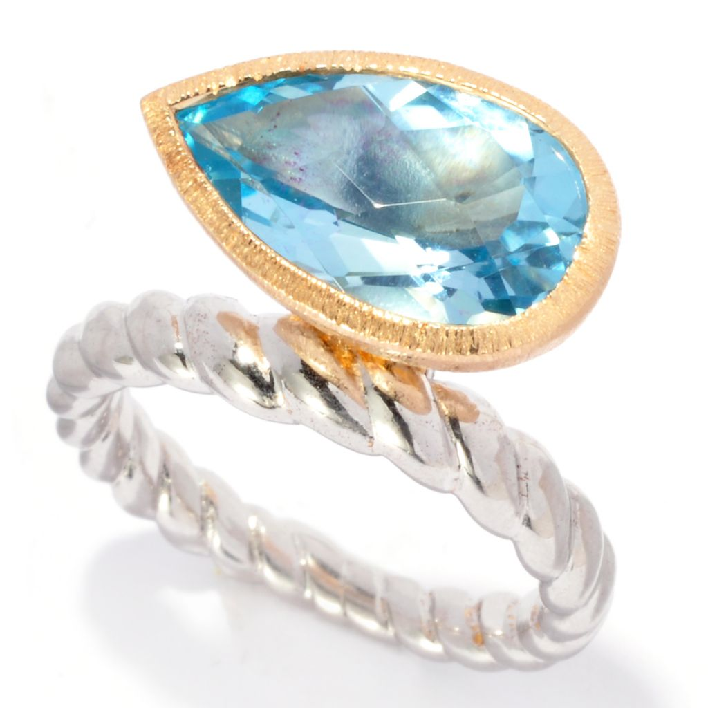 137-121 - Michelle Albala 4.20ctw Two-tone Pear Shaped Sky Blue Topaz Swirl Band Ring