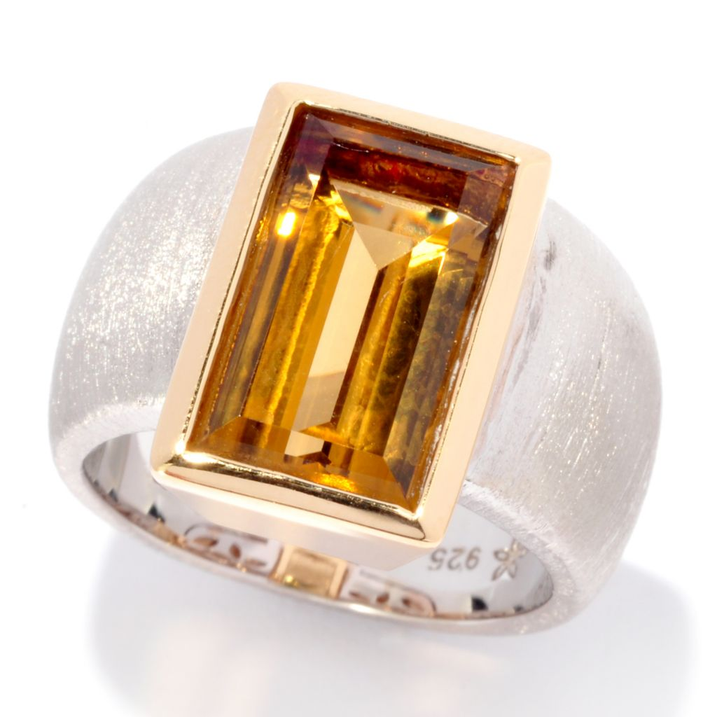 137-123 - Michelle Albala Two-tone 3.80ctw Baguette Gemstone Brushed Wide Band Ring