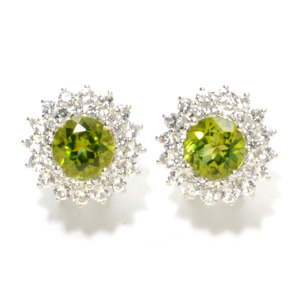 137-125 - Gem Insider Sterling Silver 6.24ctw Peridot & White Topaz Halo Earrings w/ Omega Backs