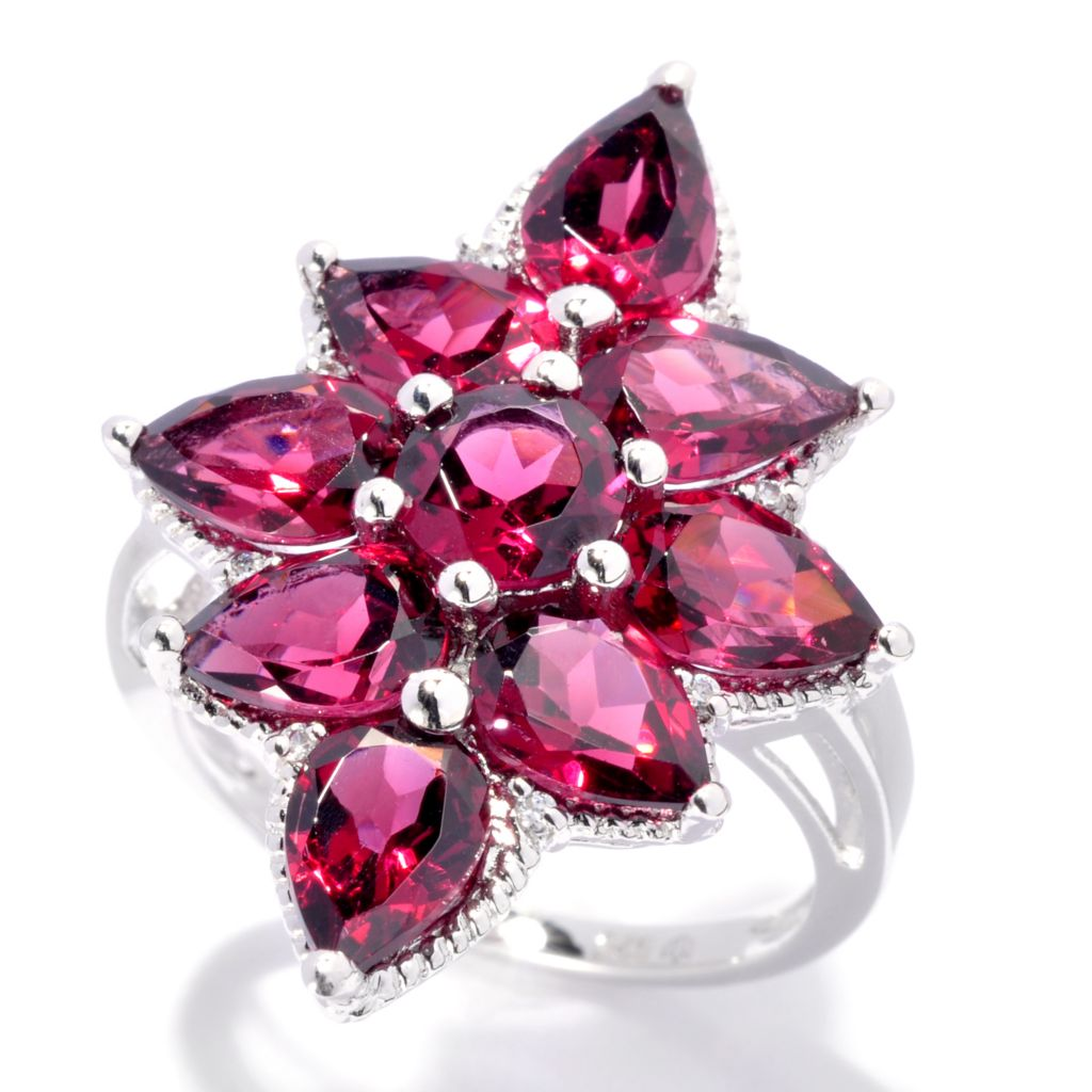 137-126 - Gem Insider Sterling Silver Gemstone & White Zircon North-South Ring
