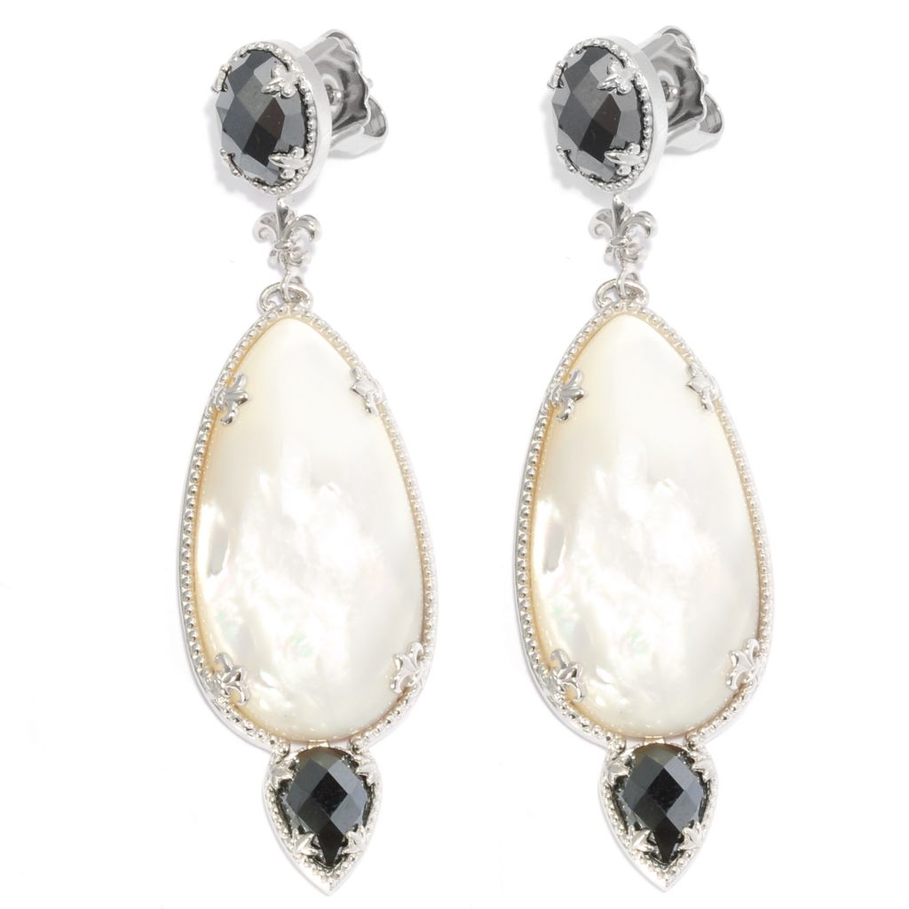 "137-132 - Dallas Prince Designs Sterling Silver 2.5"" Hematite & Mother-of-Pearl Drop Earrings"