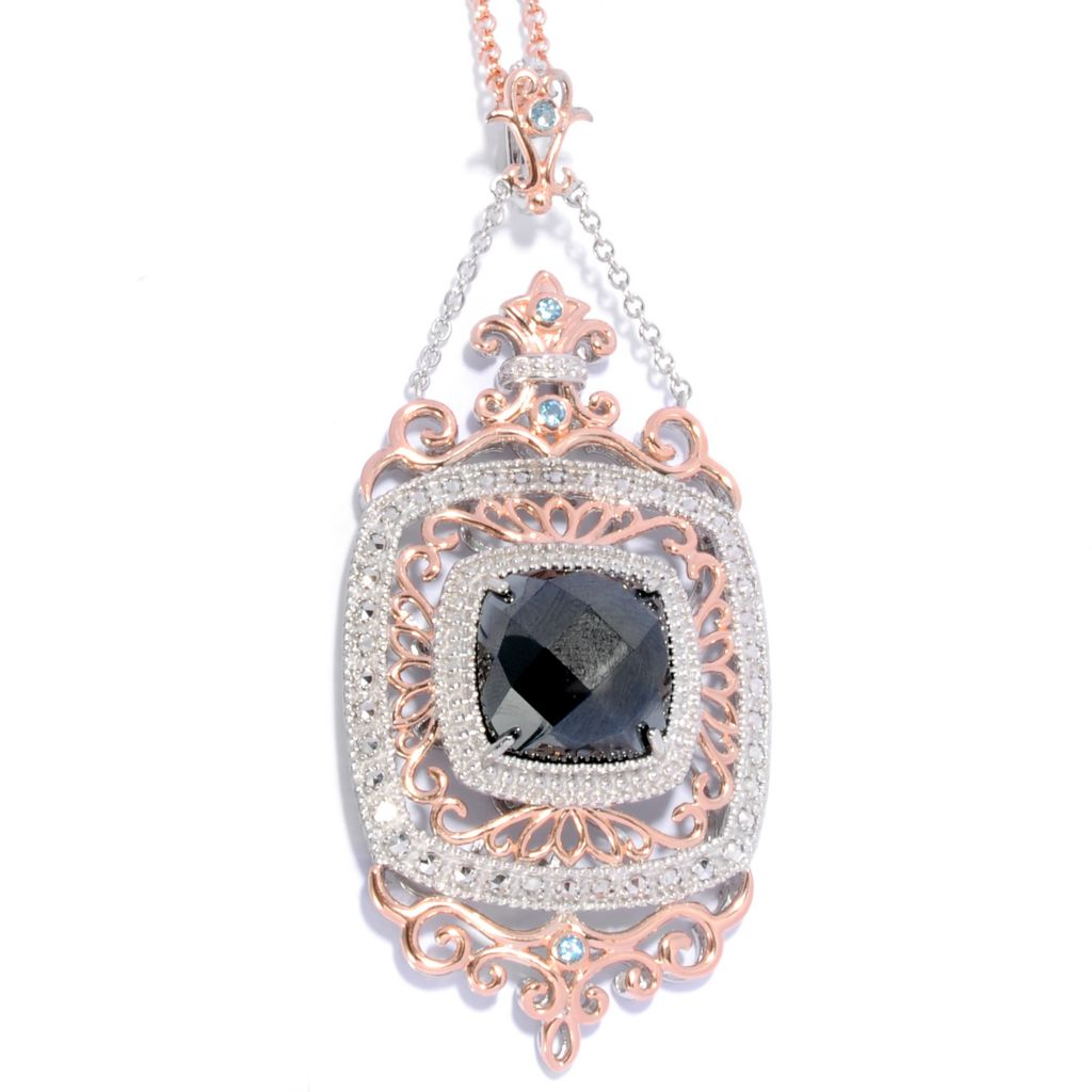 "137-133 - Dallas Prince Designs Two-tone Hematite Swiss Blue Topaz & Marcasite Pendant w/ 20"" Chain"