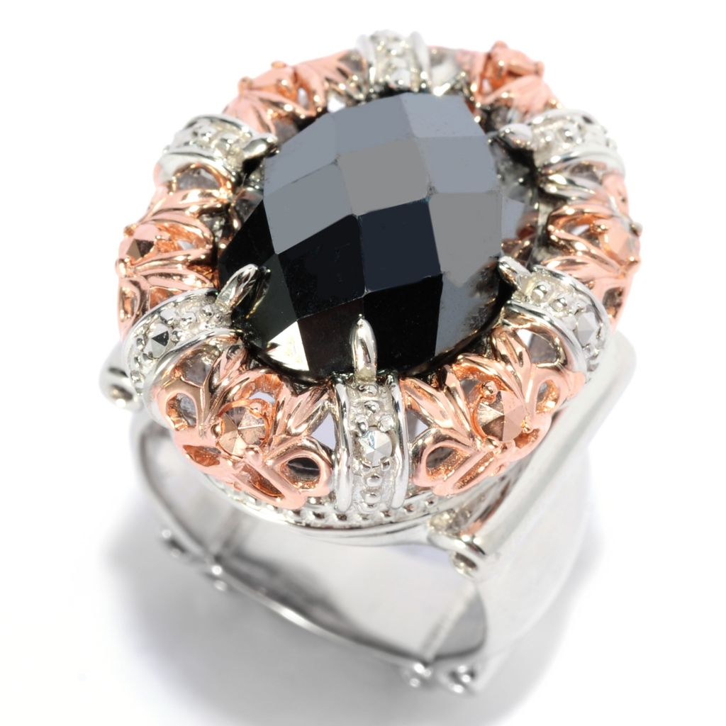 137-140 - Dallas Prince Two-tone 16 x 12mm Oval Hematite & Marcasite Ring