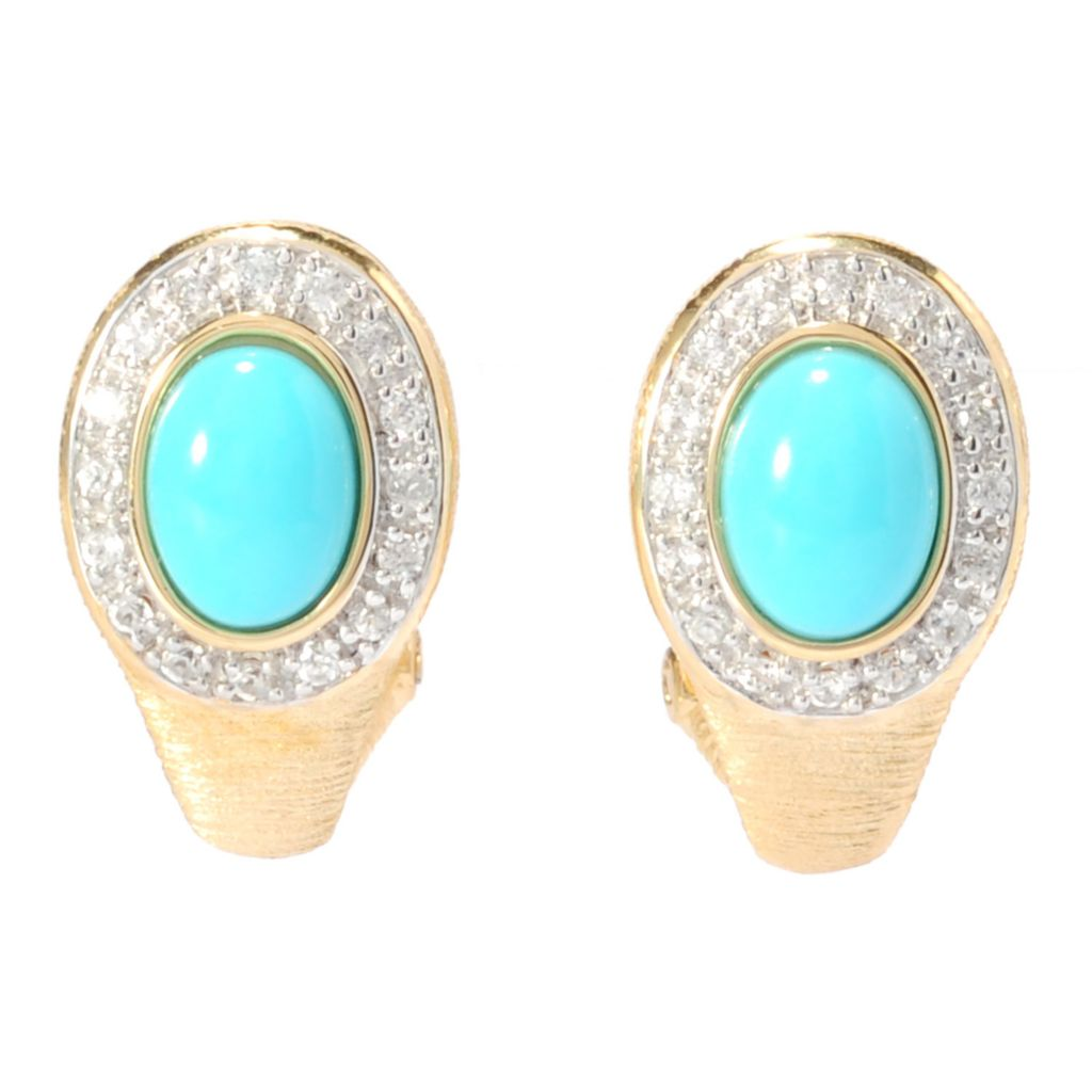 137-142 - Michelle Albala Sleeping Beauty Turquoise & White Zircon Earrings w/ Omega Backs