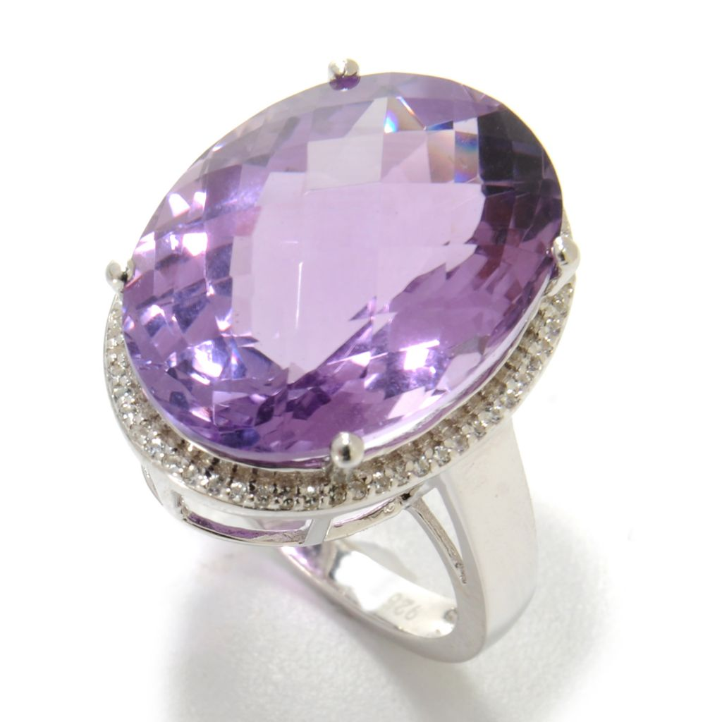 137-143 - Gem Insider Sterling Silver 12.69ctw Gemstone & White Topaz Halo Ring