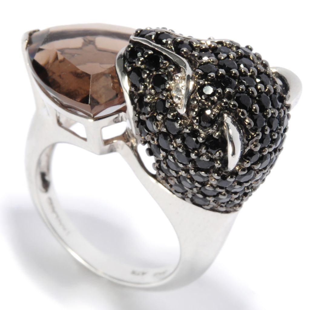 137-144 - NYC II 9.06ctw Smoky Quartz, Black Spinel & White Zircon Panther Ring