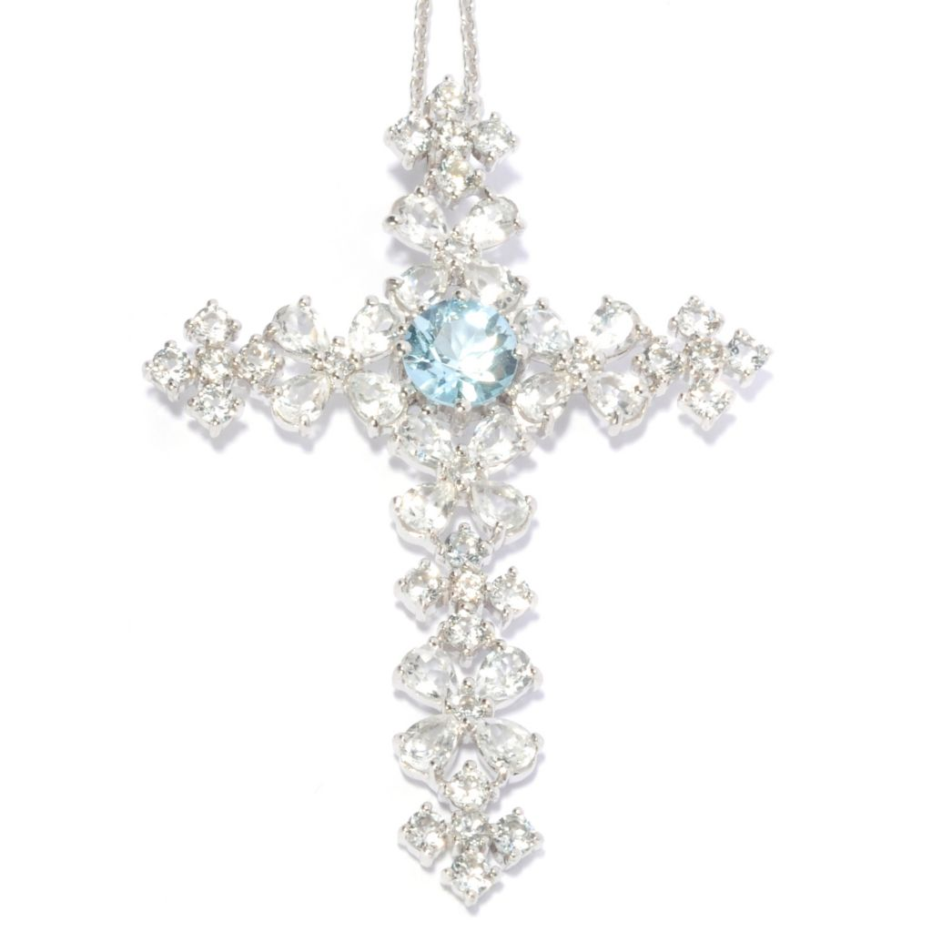 137-145 - NYC II 6.88ctw Sky Blue Topaz & White Topaz Cross Pendant w/ Chain