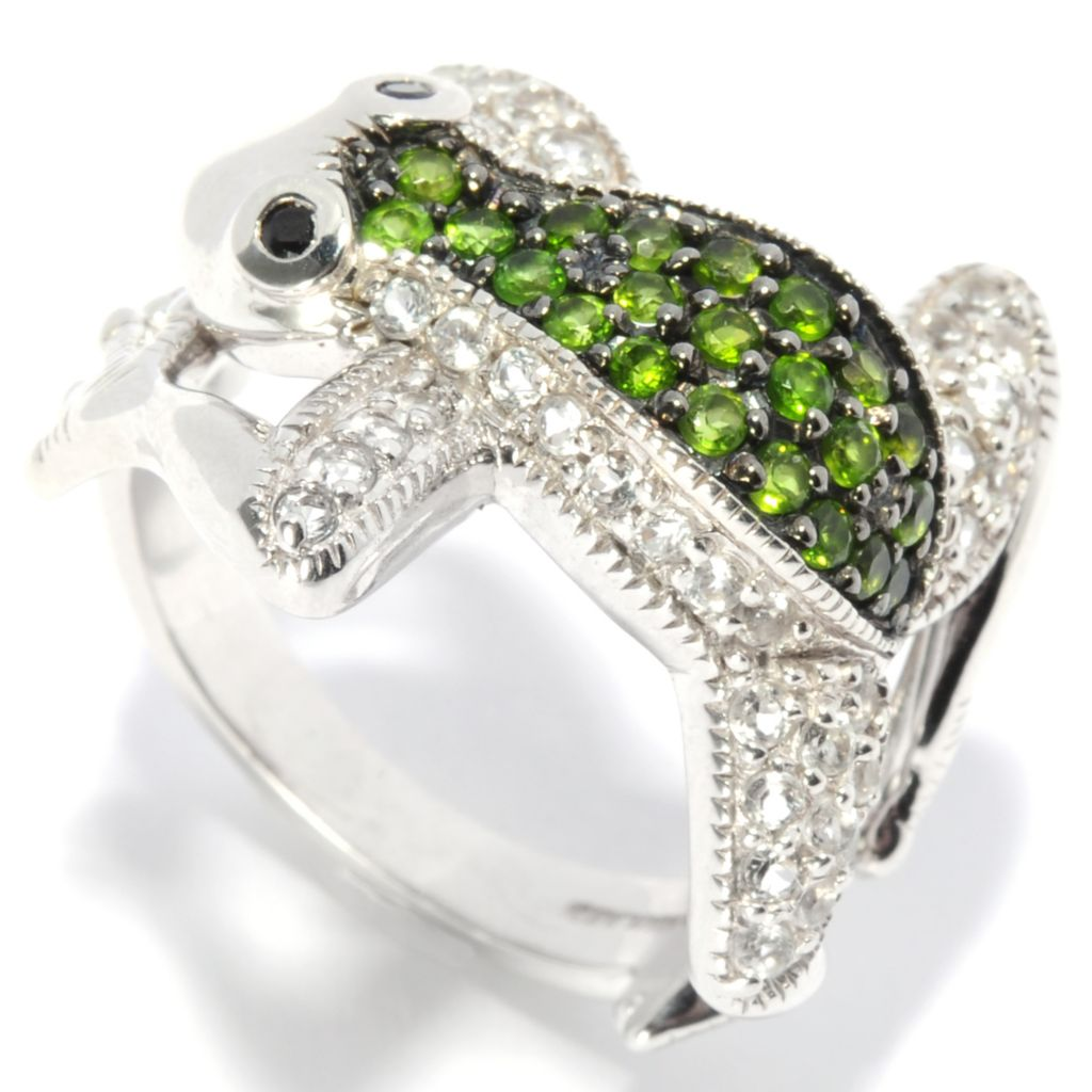 137-146 - NYC II Chrome Diopside, Black Spinel & White Topaz Frog Ring
