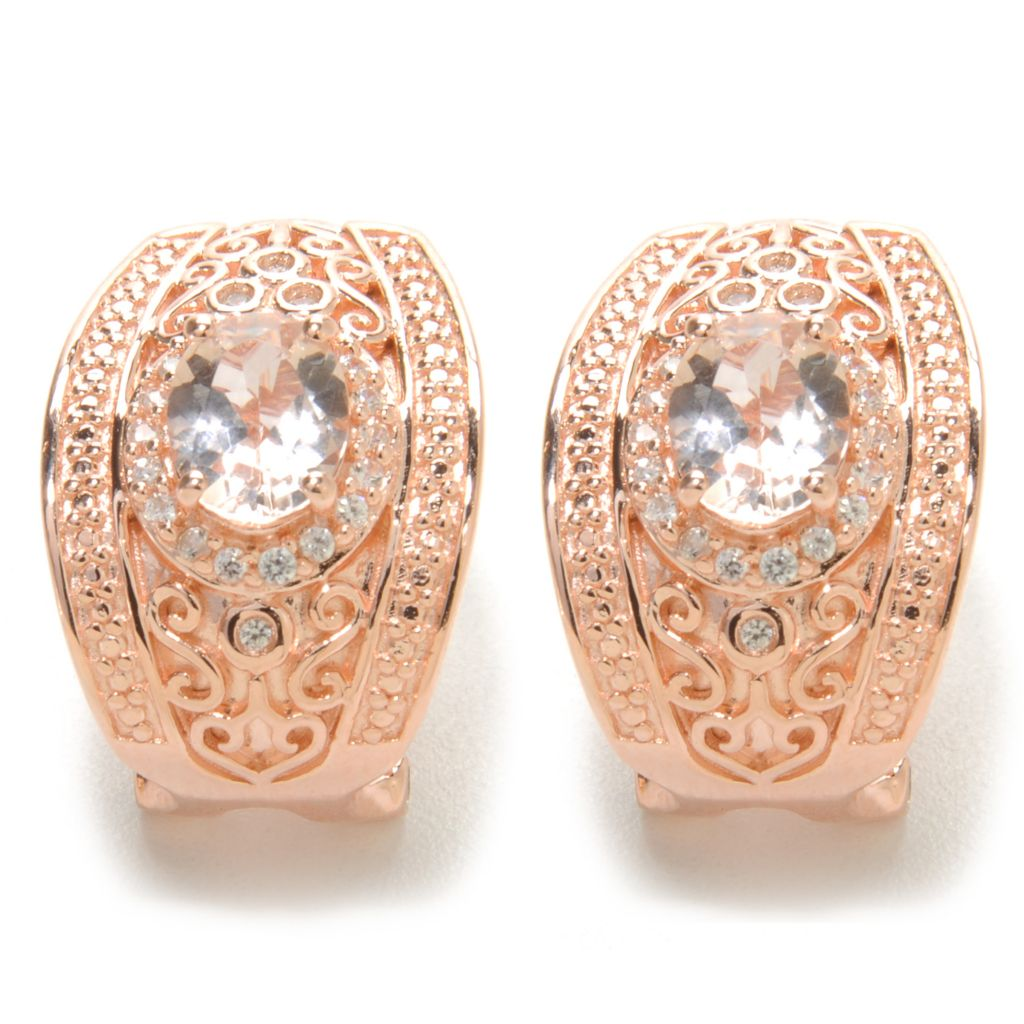 137-148 - NYC II 2.07ctw Morganite & White Zircon Filigree Earrings w/ Omega Backs
