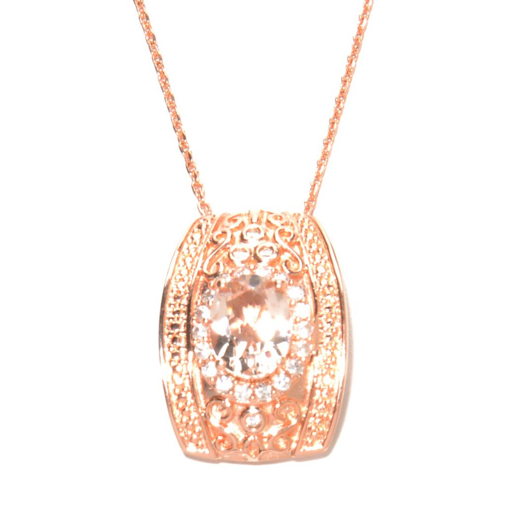 "137-149 - NYC II 1.99ctw Morganite & White Zircon Filigree Pendant w/ 18"" Chain"