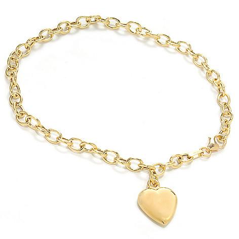 137-151 - Viale18K® Italian Gold 7.25'' Heart Charm Link Bracelet, 3.1 grams
