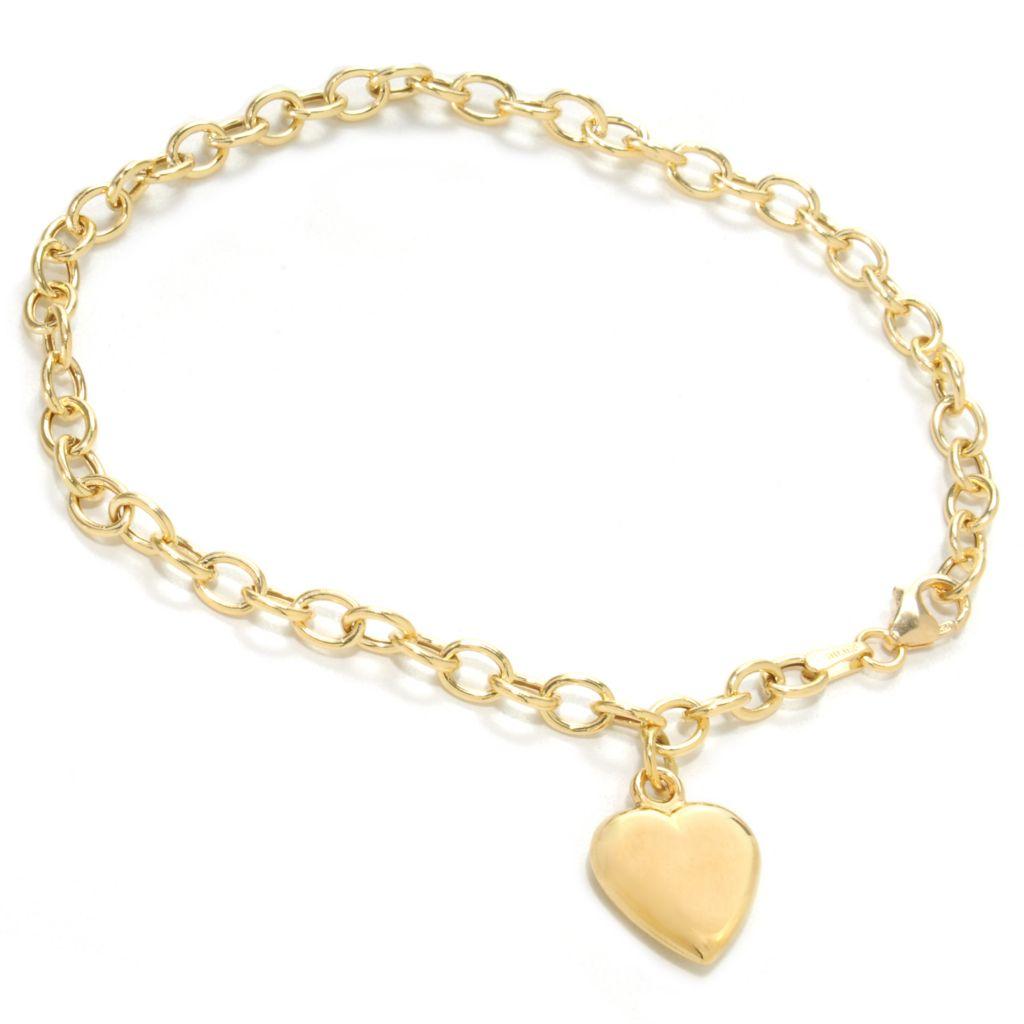 """137-151 - Viale18K® Italian Gold 7.25"""" Heart Charm Link Bracelet, 3.1 grams"""