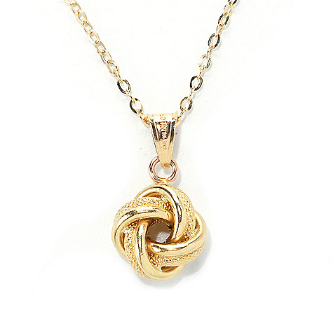137-154 - Viale18K® Italian Gold Textured & Polished Knot Pendant w/ Chain