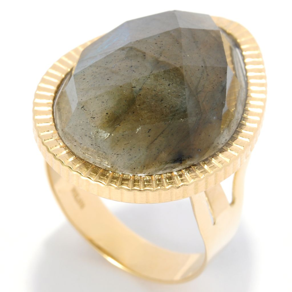 137-156 - Viale18K® Italian Gold  20 x 15mm Pear Shaped Labradorite Ring
