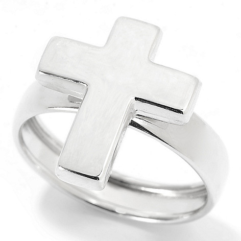 137-158 - Viale18K® Italian Gold Polished Cross Band Ring