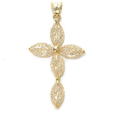 137-159 - Viale18K® Italian Gold 12 x 6mm Simulated Diamond Mesh Cross Pendant
